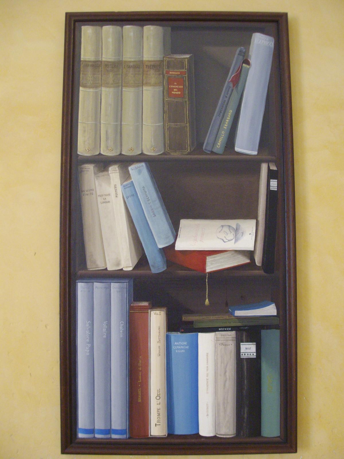 libreria trompe l'oeil acrilico su tela